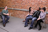 (from left) Dwight McCormick of Springfield, Kathy Roll of Dayton, CJ Jones of Riverside and Erin Welsh of Dayton during a Lofty Aspirations improv class at The Livery in the Oregon Arts District in Dayton, Wednesday, February 15, 2012.