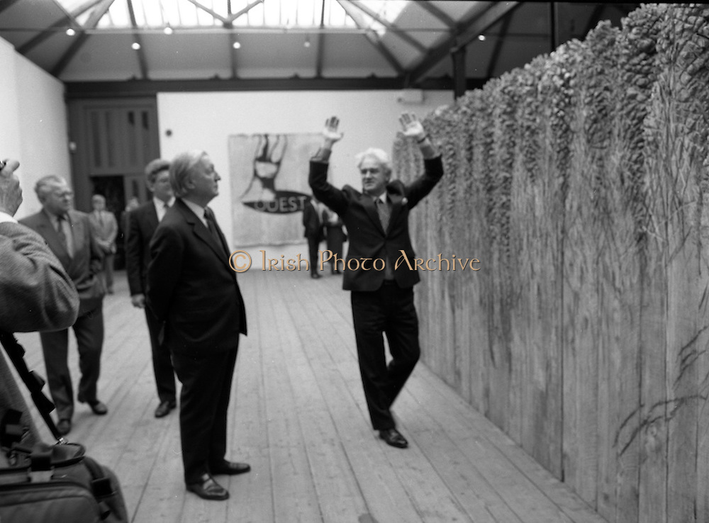 19/08/1988<br /> 08/19/1988<br /> 19 August 1988<br /> Taoiseach visits ROSC '88 at the Guinness Hop Store, Dublin.  Pat Murphy ROSC Chairman, gets animated discussing an exhibit with Taoiseach Charles Haughey.