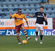 24th February 2018, Dens Park, Dundee, Scotland; Scottish Premier League football, Dundee versus Motherwell; Ryan Bowman of Motherwell and Josh Meekings of Dundee