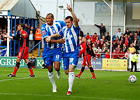Photo: Olly Greenwood.<br />Colchester United v Southampton. Coca Cola Championship. 28/10/2006. Colchester's Kevin McLeod celebrates scoring with Chris Iwelumo
