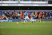 Queens Park Rangers midfielder, (David Hoilett) Junior Hoilett (23) scoring second goal from penalty spot during the Sky Bet Championship match between Queens Park Rangers and Birmingham City at the Loftus Road Stadium, London, England on 27 February 2016. Photo by Matthew Redman.
