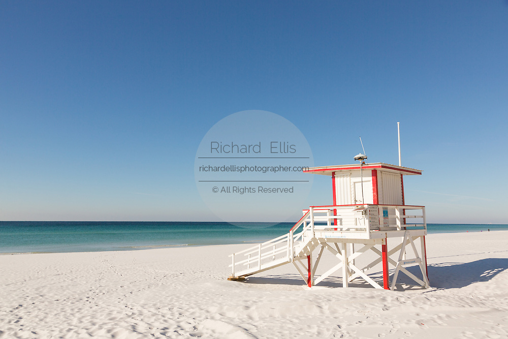 Lifeguard station on the white sand beaches in Fort Walton Beach, Florida.