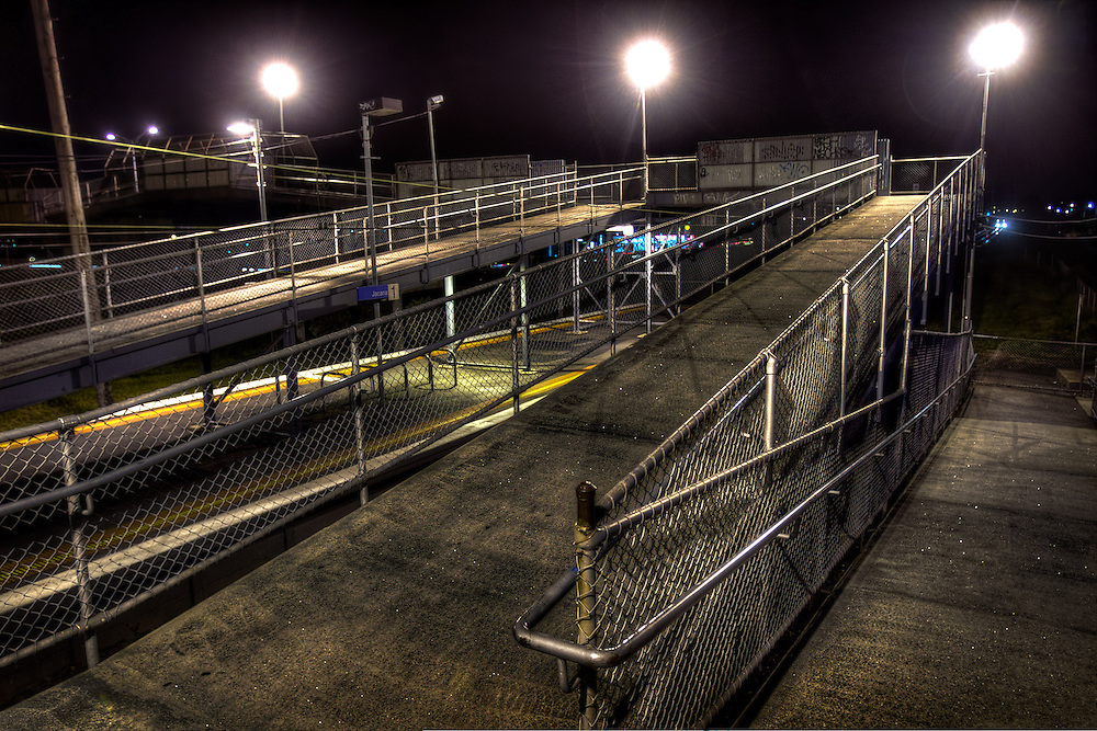 Railway Stations at night. About 9pm,  Jacana railway station, the footbridges are reminiscent of cattle ramps. Pic By Craig Sillitoe CSZ/The Sunday Age The Age iPad App.5/8/2011 This photograph can be used for non commercial uses with attribution. Credit: Craig Sillitoe Photography / http://www.csillitoe.com<br />