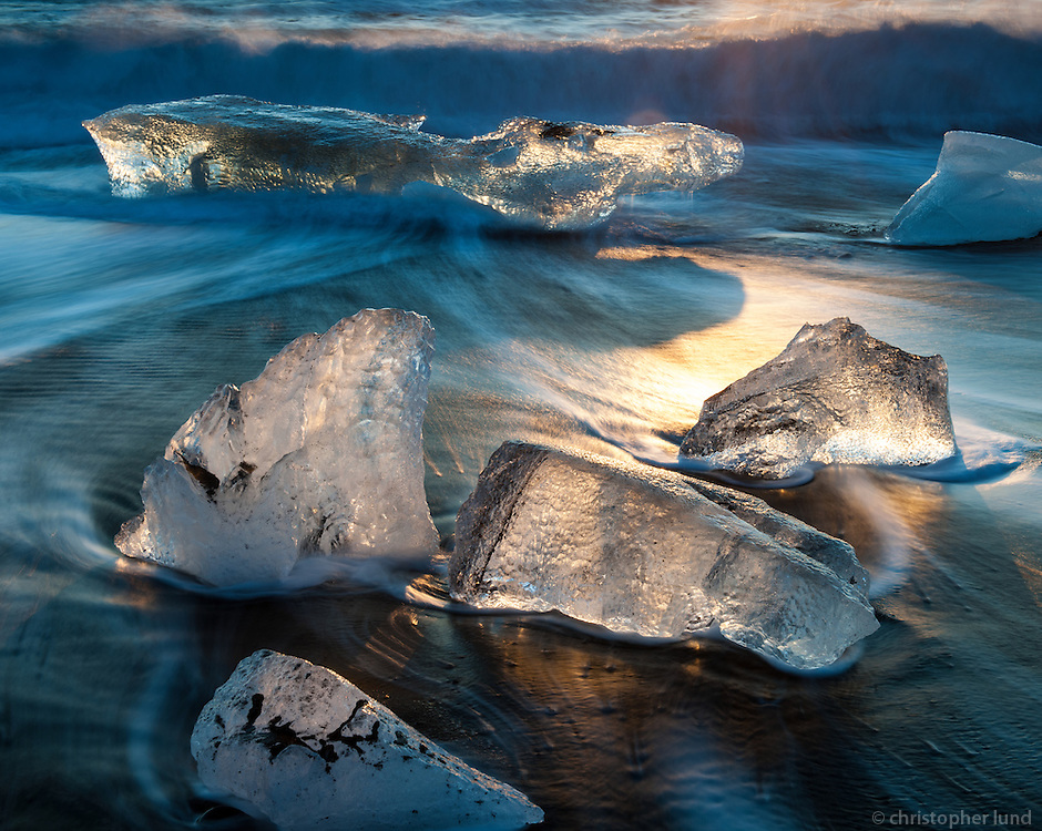 Icebergs on the black sand beach at Jökulsárlón Glacier Lagoon, Southeast Iceland.