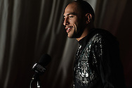 MANCHESTER, ENGLAND, NOVEMBER 12, 2009: Brandon Vera addresses the media during the pre-fight press conference for UFC 105 at the MEN Arena in Manchester, England on November 12, 2009.