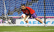 Rotherham United goalkeeper Kelle Roos warming up during the Sky Bet Championship match between Brighton and Hove Albion and Rotherham United at the American Express Community Stadium, Brighton and Hove, England on 15 September 2015.