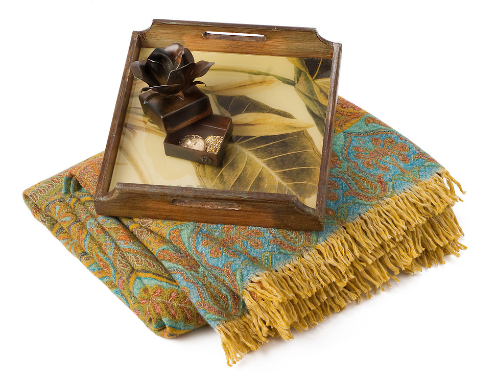 serving tray and blanket throw