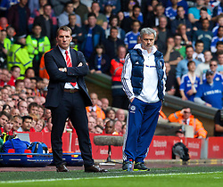27.04.2014, Anfield, Liverpool, ENG, Premier League, FC Liverpool vs FC Chelsea, 36. Runde, im Bild Chelsea's manager Jose Mourinho and Liverpool's manager Brendan Rodgers // during the English Premier League 36th round match between Liverpool FC and Chelsea FC at Anfield in Liverpool, Great Britain on 2014/04/27. EXPA Pictures &copy; 2014, PhotoCredit: EXPA/ Propagandaphoto/ David Rawcliffe<br /> <br /> *****ATTENTION - OUT of ENG, GBR*****