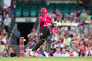 Sydney Sixers player Josh Philippe bowled out by Melbourne Stars player Dwayne Bravo at the Big Bash League cricket match between Sydney Sixers and Melbourne Stars at The Sydney Cricket Ground in Sydney, Australia