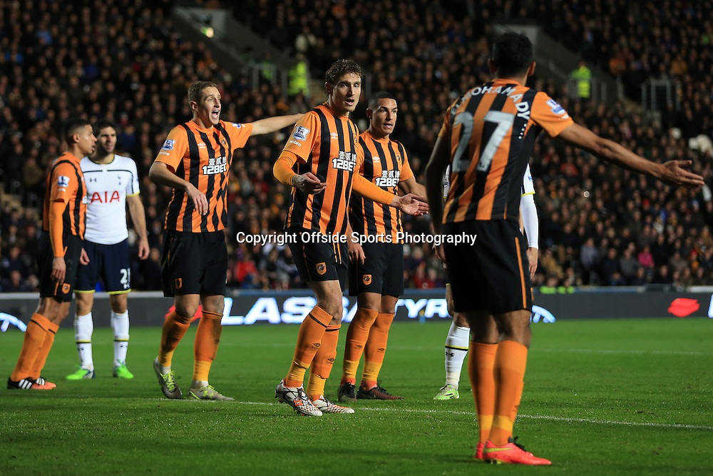 23rd November 2014 - Barclays Premier League - Hull City v Tottenham Hotspur - Nikica Jelavic of Hull looks confused as he stands in defence - Photo: Simon Stacpoole / Offside.