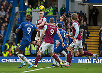 Football - 2019 / 2020 Premier League - Chelsea vs. Burnley<br /> <br /> James Tarkowski (Burnley FC) rises to head the ball back across the box as Burnley attack at Stamford Bridge <br /> <br /> COLORSPORT/DANIEL BEARHAM