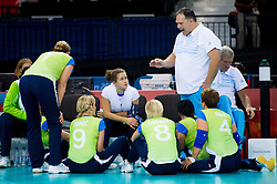 Simon Bozic, head coach of Slovenia with players during 5th - 8th place sitting volleyball match between National teams of Slovenia and Japan during Day 7 of the Summer Paralympic Games London 2012 on September 4, 2012, in ExCel Exhibition centre, London, Great Britain. Slovenia defeated Japan 3-0. (Photo by Vid Ponikvar / Sportida.com)