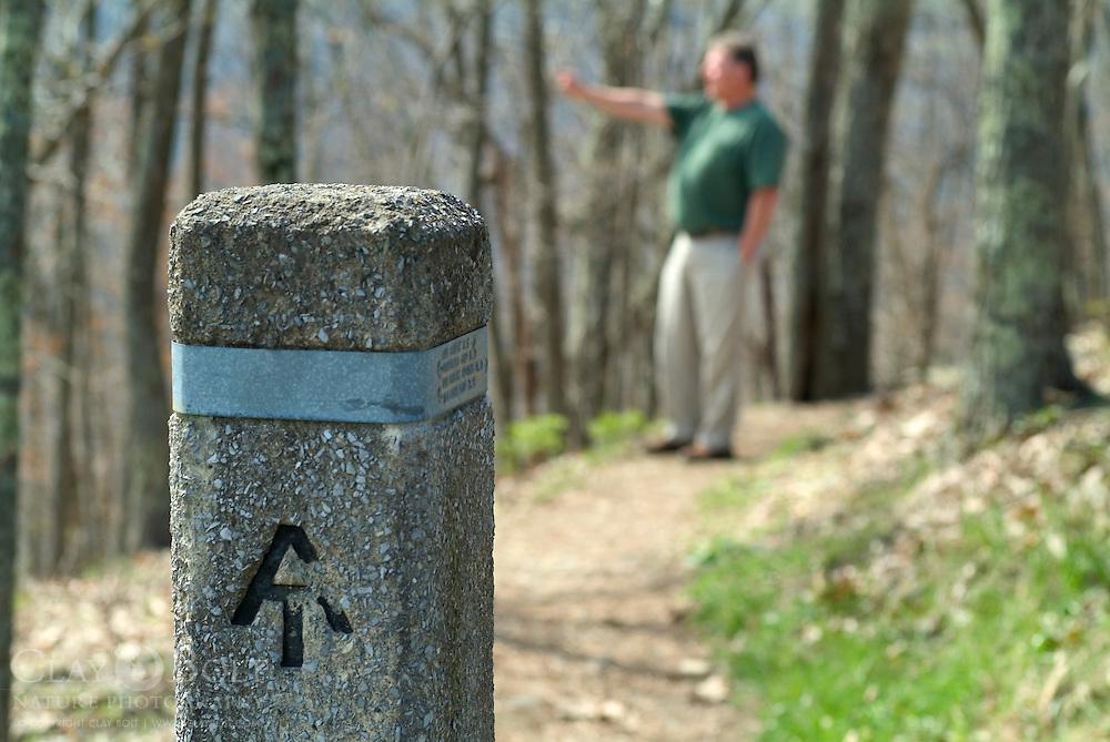 Man, Walking on the Appalachian Trail, Shenandoah Valley, Virginia