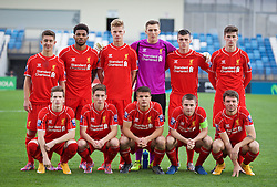 MADRID, SPAIN - Tuesday, November 4, 2014: Liverpool's players line up for a team group photograph before the UEFA Youth League Group B match against Real Madrid at Ciudad Real Madrid. Back row L-R: Cameron Brannagan, Jerome Sinclair, Daniel Cleary, goalkeeper Ryan Fulton, Alex O'Hanlon, Corey Whelan. Front row L-R: Ryan Kent, Harry Wilson, Tom Brewitt, captain Jordan Rossiter, Joe Maguire. (Pic by David Rawcliffe/Propaganda)