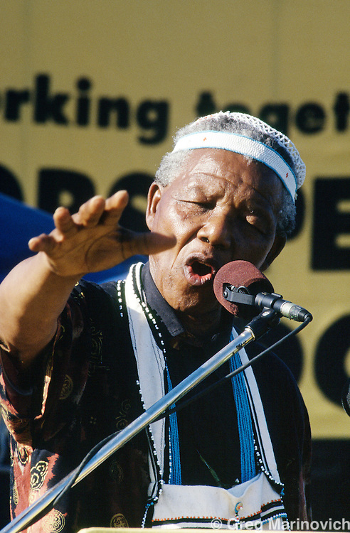 Nelson Mandela at a rally, 1994, South Africa.