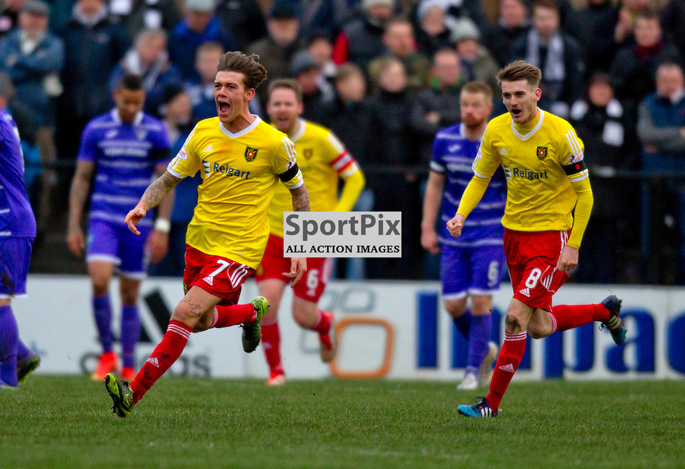 Albion Rovers v Dunfermline Athletic SPFL League One Season 2015/16 Cliftonhill 21 November 2015<br /> Josh Mullen celebrates his goal<br /> CRAIG BROWN | sportPix.org.uk