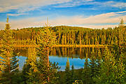 Perch Lake at sunset. Boreal forest.<br />Duck Mountain Provincial Park<br />Manitoba<br />Canada