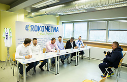 "Press conference of handball event named ""Rokometna simfonija"" in honour of retirement of best Slovenian handball players Uros Zorman and Luka Zvizej, on April 14, 2019, in Arena Zlatorog, Celje, Slovenia. Photo by Vid Ponikvar / Sportida"
