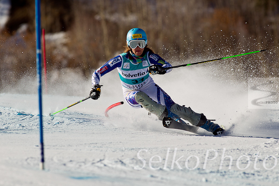 United States Ski Team Athlete Julia Mancuso in the Women's Alpine Skiing World Cup  Slalom race on Ajax Mountain at Aspen, CO on November 27, 2011. ©J.Selkowitz/SelkoPhoto
