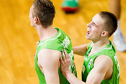 Gezim Morina of Slovenia and Klemen Prepelic of Slovenia celebrate after winning the basketball match between National teams of Turkey and Slovenia in Qualifying Round of U20 Men European Championship Slovenia 2012, on July 17, 2012 in Domzale, Slovenia. Slovenia defeated Turkey 72-71 in last second of the game. (Photo by Vid Ponikvar / Sportida.com)