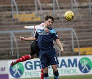 Forfar's  Jamie Bain wins a header during Forfar's 3-0 win over Clyde in SPFL League Two  at Station Park, Forfar, Photo: David Young<br /> <br />  - &copy; David Young - www.davidyoungphoto.co.uk - email: davidyoungphoto@gmail.com