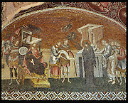 Mary and Joseph register for the census before Governor Quirinius and his officials, Byzantine mosaic, 1315-21, in the exonarthex or outer narthex of Kariye Camii, or the Church of the Holy Saviour in Chora, a medieval Byzantine Greek Orthodox church, now a museum, in Istanbul, Turkey. The church was originally built as a monastery in the 4th century, became a mosque under the Ottomans in the 16th century and became a museum in 1948. It contains some of the oldest surviving Byzantine mosaics, with scenes of the lives of Christ, the Virgin and the Saints. Picture by Manuel Cohen