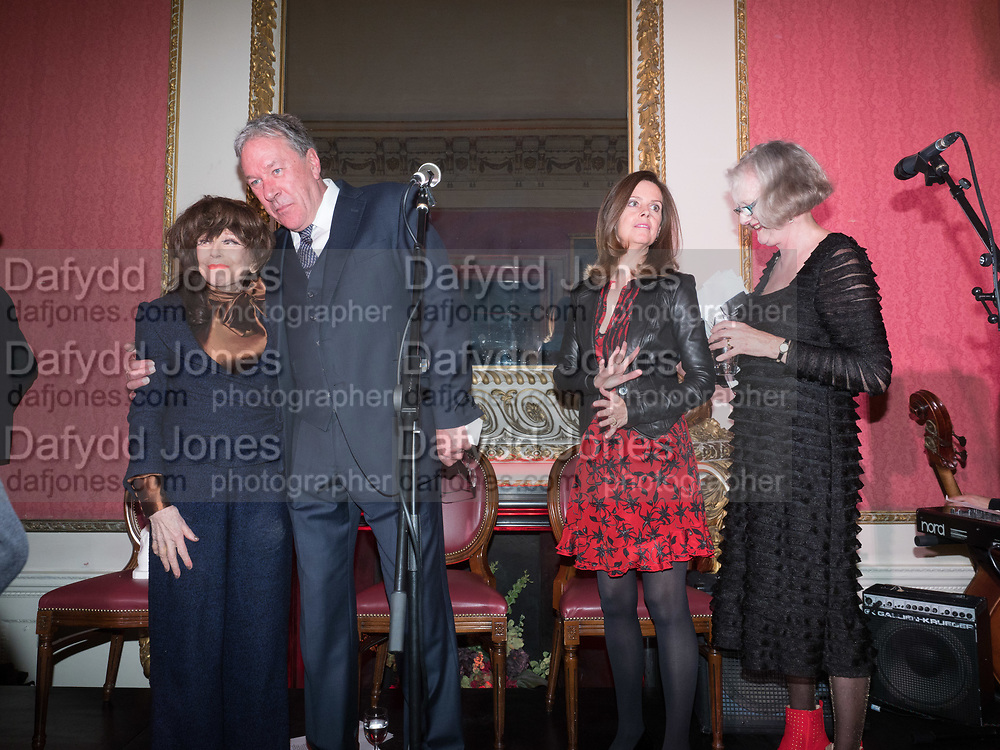 FENELLA FIELDING; TIM BENTINCK; LUCY BERESFORD; ; SARAH CROWDEN; ; ,Literary Review Christmas drinks and  Bad Sex in fiction Awards, In and Out club. St. James's Sq. London. 30 November 2017