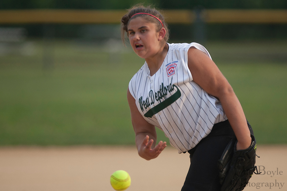 West Deptford's Brittany Short throws a pitch during a game against Gibbstown held at the Clayton Little League Complex Thursday July 7, 2011.