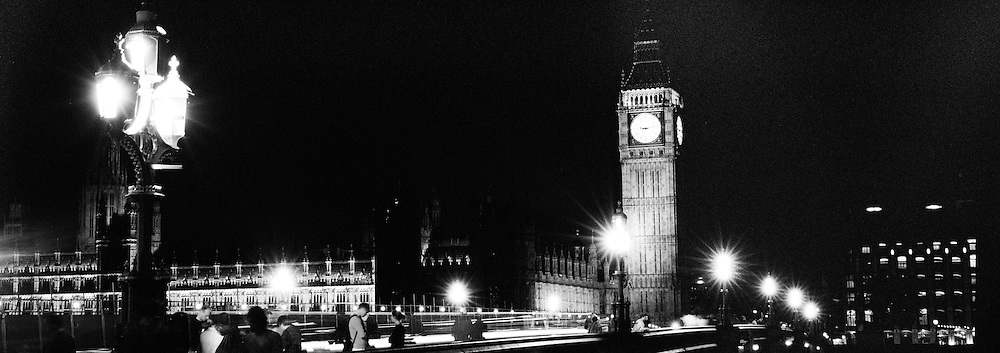 A Panoramic view of London at night time showing Big Ben and the Houses of Parliament viewed from the South Bank of the Thames. London, England, UK. 23rd July 2011. Photo Tim Clayton