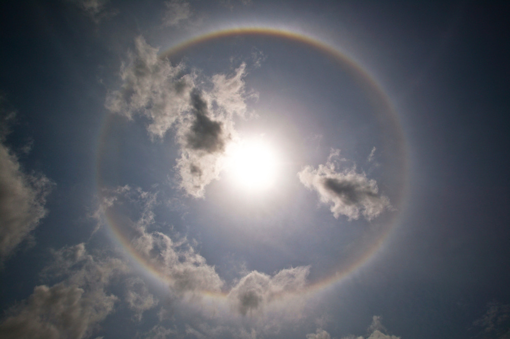 Nov. 25, 2003. A circular rainbow over th M.V. Arctic Sunrise on the Jaurucu River in Brazil.