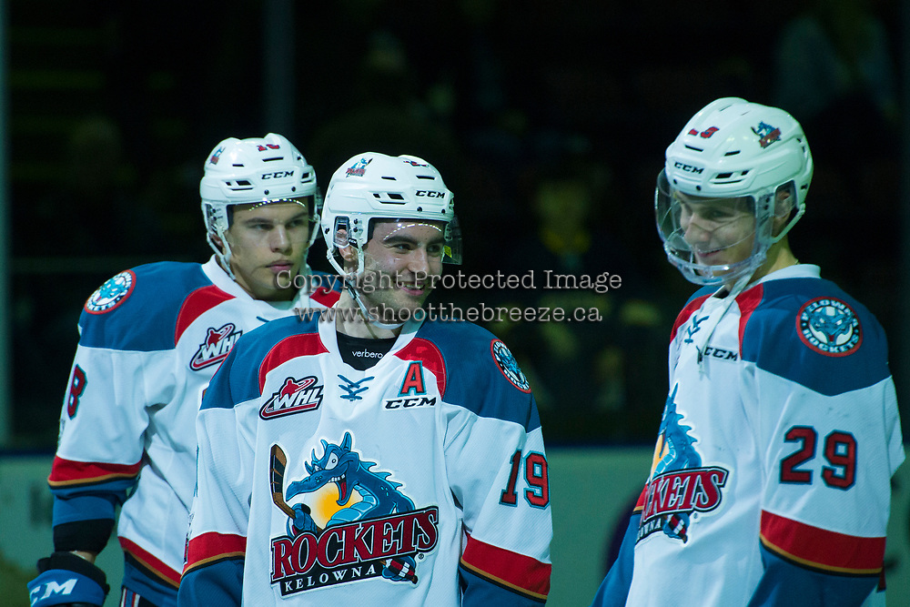 KELOWNA, CANADA - JANUARY 30: Dillon Dube #19 shares a laugh with Nolan Foote #29 of the Kelowna Rockets as they line up against the Medicine Hat Tigers on January 30, 2017 at Prospera Place in Kelowna, British Columbia, Canada.  (Photo by Marissa Baecker/Shoot the Breeze)  *** Local Caption ***