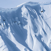 Drew Tabke gets onto a spine at the Freeride World Tour in Haines, Alaska