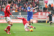 Bristol City's Luke Freeman tackles Ipswich Town's Jonas Knudsen during the Sky Bet Championship match between Bristol City and Ipswich Town at Ashton Gate, Bristol, England on 13 February 2016. Photo by Shane Healey.