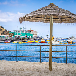Catalina Island tropical tiki style straw umbrella with the Avalon green pier and Catalina Casino