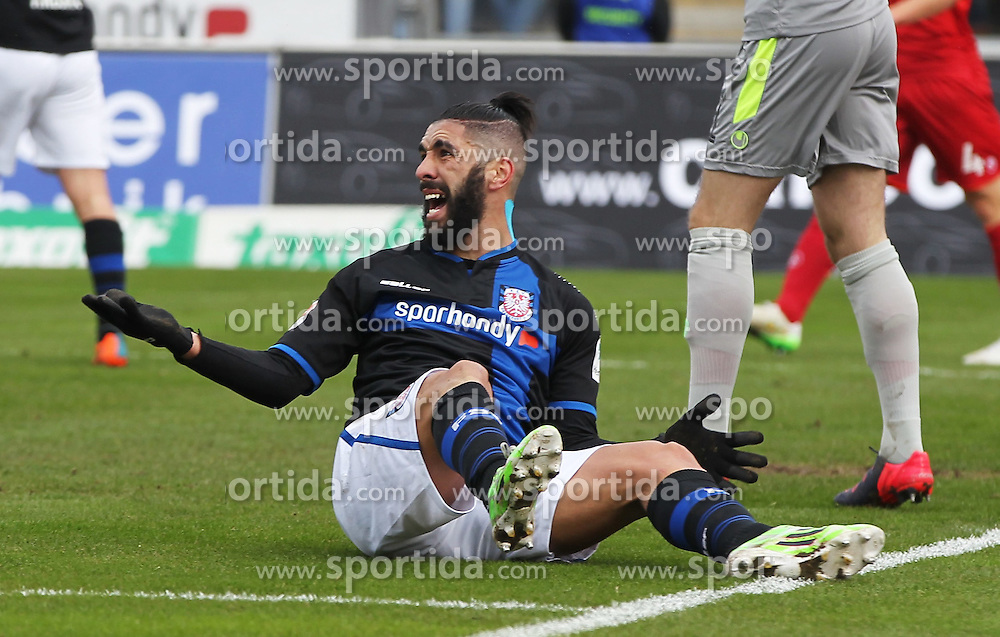 22.02.2015, Frankfurter Volksbank Stadion, Frankfurt, GER, 2. FBL, FSV Frankfurt vs 1. FC Kaiserslautern, 22. Runde, im Bild vl. Mohamed Amine Aoudia (FSV Frankfurt) enttaeuscht, enttaeuscht schauend // during the 2nd German Bundesliga 22nd round match between FSV Frankfurt vs 1. FC Kaiserslautern at the Frankfurter Volksbank Stadion in Frankfurt, Germany on 2015/02/22. EXPA Pictures &copy; 2015, PhotoCredit: EXPA/ Eibner-Pressefoto/ Voelker<br /> <br /> *****ATTENTION - OUT of GER*****