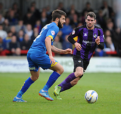Bristol Rovers' Michael Smith closes down AFC Wimbledon's George Francomb - Photo mandatory by-line: Dougie Allward/JMP - Mobile: 07966 386802 05/04/2014 - SPORT - FOOTBALL - Kingston upon Thames - Kingsmeadow - AFC Wimbledon v Bristol Rovers - Sky Bet League Two