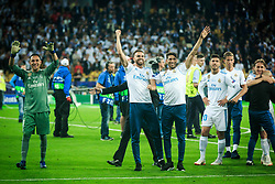 Keylor Navas of Real Madrid and other players celebrate after they won 3-1 during the UEFA Champions League final football match between Liverpool and Real Madrid and became Champions League  2018 Champions third time in a row at the Olympic Stadium in Kiev, Ukraine on May 26, 2018.Photo by Sandi Fiser / Sportida