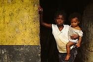 Daily life around the streets of the sanzalas (workers quarters) of roça Colónia Açoreana.