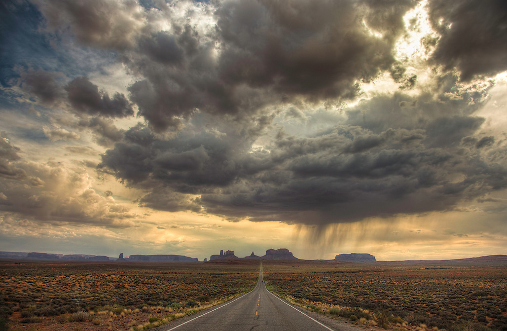 Late afternoon rain showers over Monument Valley, from a classic viewpoint