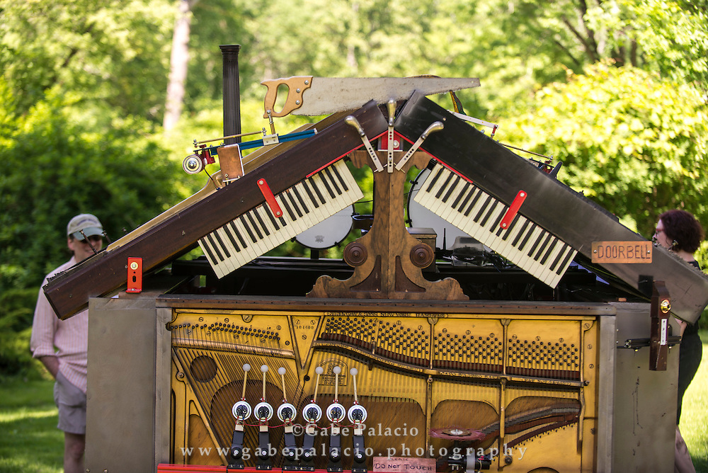 Trimpin's installation The Pianohouse at opening for In the Garden of Sonic Delights  at Caramoor in Katonah New York on June 7, 2014. <br /> (photo by Gabe Palacio)