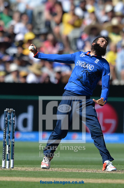 Mooed Ali of England bowls during the 2015 ICC Cricket World Cup match at Melbourne Cricket Ground, Melbourne<br /> Picture by Frank Khamees/Focus Images Ltd +61 431 119 134<br /> 14/02/2015
