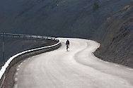 Bicycle climbing on the Mont ventoux  . a world meeting point for the Bicycle  Provence  /  Cycliste ascension du mont ventoux  Provence