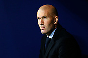 Real Madrid's French coach Zinedine Zidane reacts during the Spanish championship Liga football match between Atletico Madrid and Real Madrid on November 18, 2017 at the Wanda Metropolitano in Madrid, Spain - Photo Benjamin Cremel / ProSportsImages / DPPI