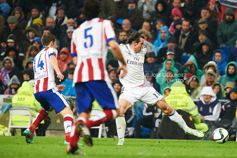 Gareth Bale during the Copa del Rey, round of 8 match between Real Madrid and Atletico de Madrid at Estadio Santiago Bernabeu on January 15, 2015 in Madrid, Spain.