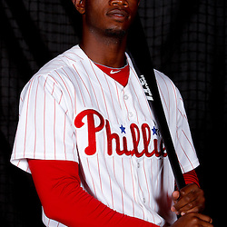 February 22, 2011; Clearwater, FL, USA; Philadelphia Phillies right fielder Domonic Brown (9) poses during photo day at Bright House Networks Field. Mandatory Credit: Derick E. Hingle
