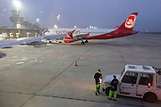Berlin, Germany. Air Berlin Airbus A320 at Tempelhof Airport.