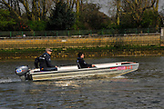 London, UK,  2014 Varsity, Annual Tideway Week. OUBC, Oxford University Boat Club, Sean BOWDEN, Chief Coach, in the launch. 09:08:56  Tuesday  01/04/2014  : [Mandatory Credit Intersport Images]