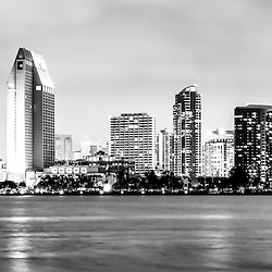 Panorama of San Diego skyline black and white picture. Panoramic photo ratio is 1:3. San Diego is a major city in Southern California in the United States.