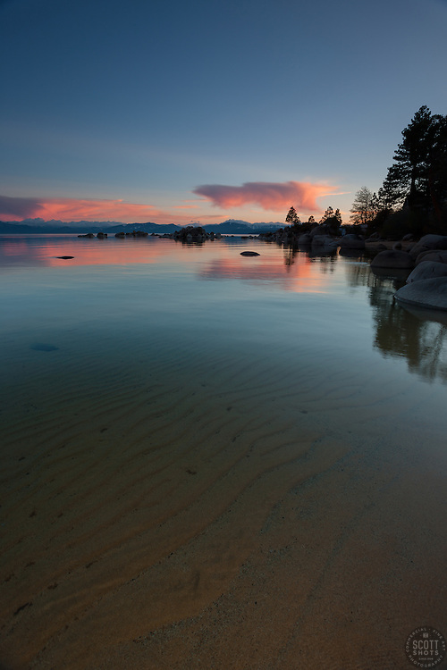 """Sunset at Lake Tahoe 23""- This sunset and ripples in the lakeshore's sandy bottom were photographed at Speedboat Beach, Lake Tahoe."