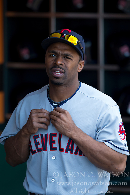 SAN FRANCISCO, CA - APRIL 26:  Michael Bourn #24 of the Cleveland Indians stands in the dugout before the game against the San Francisco Giants at AT&T Park on April 26, 2014 in San Francisco, California. The San Francisco Giants defeated the Cleveland Indians 5-3.  (Photo by Jason O. Watson/Getty Images) *** Local Caption *** Michael Bourn